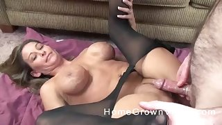 Busty blonde nympho MILF rips up her pantyhose and fucks hard