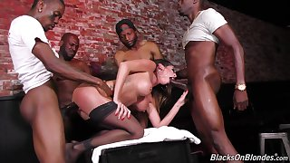 Nasty MILF Dava Foxx gets ravaged by multiple black cocks and eats cum