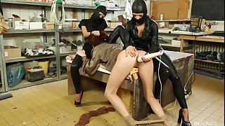 Masked lesbian sluts abuse Bella Baby with toys in the kitchen