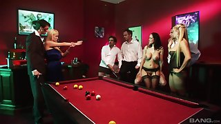 Angel Cassidy and her slutty friends fuck in a public orgy