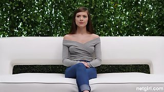 Blue eyed teen beauty Winter pounded on the casting couch