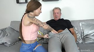 Kate seduces and fuck older man on the couch like never before